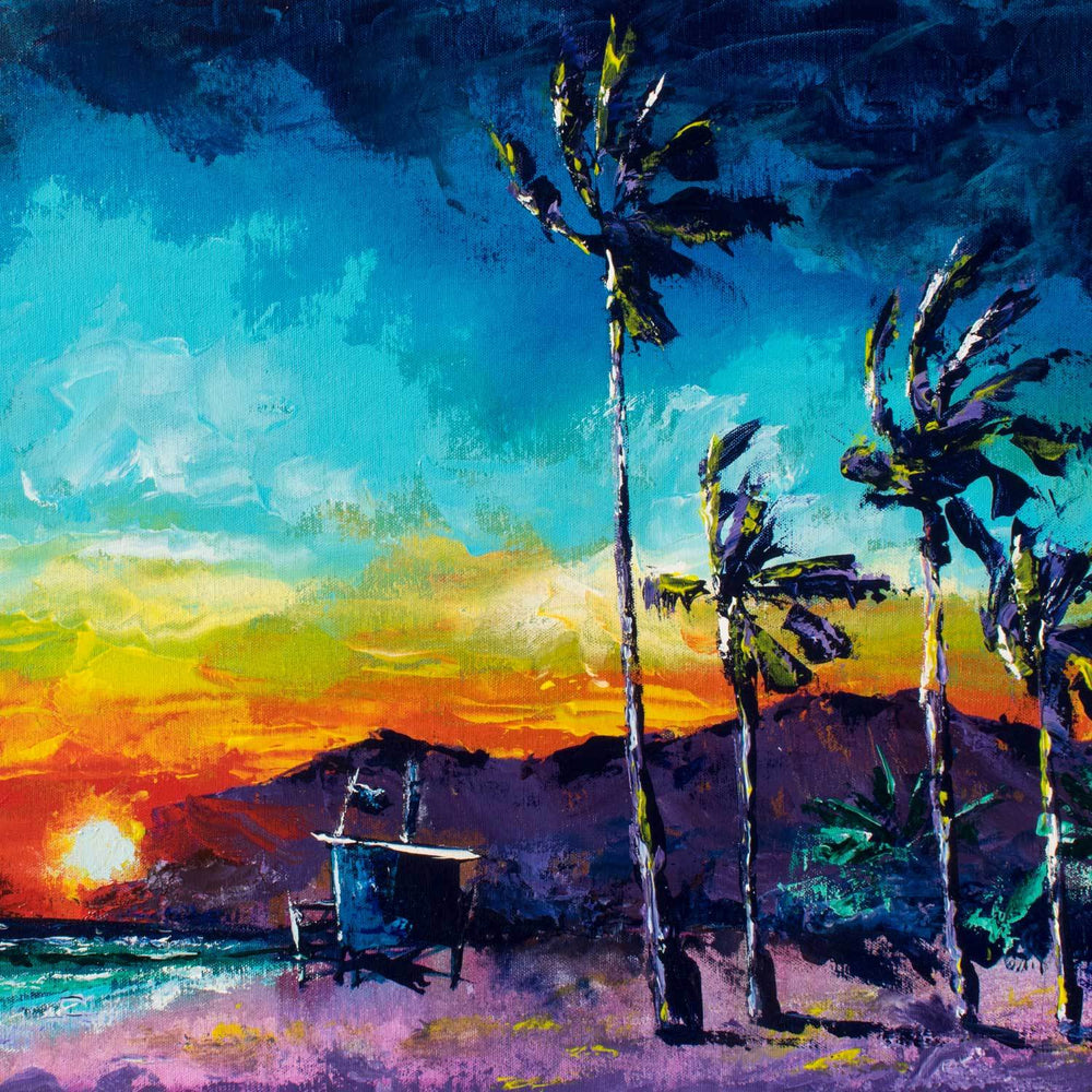 Tropical landscape painting of California beach and lifeguard stand against a rainbow sunset