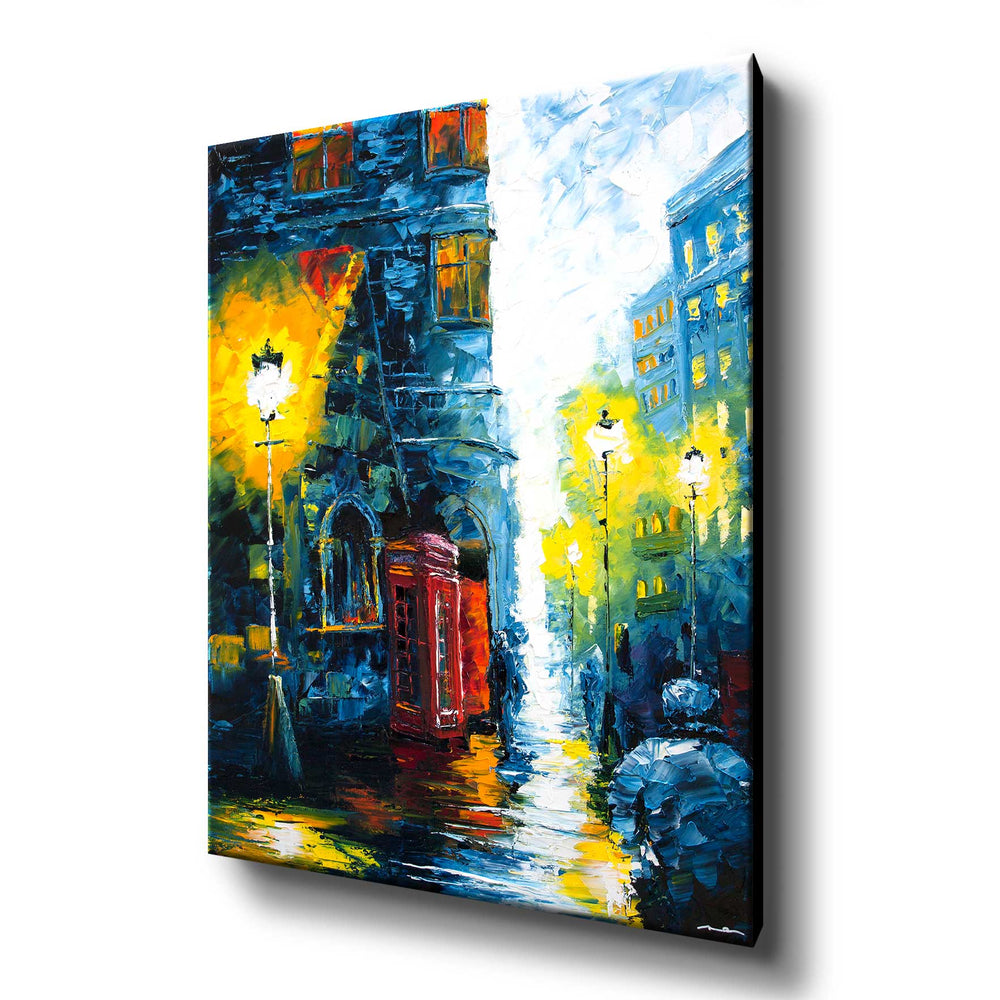 Large canvas print of rainy British street with red phone box and glowing lamp posts