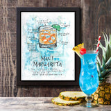 Cocktail art of Maui Margarita with recipe painted in orange and turquoise for home bar