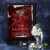 Cocktail art of classic Martini with recipe, painted on deep red canvas with white accents