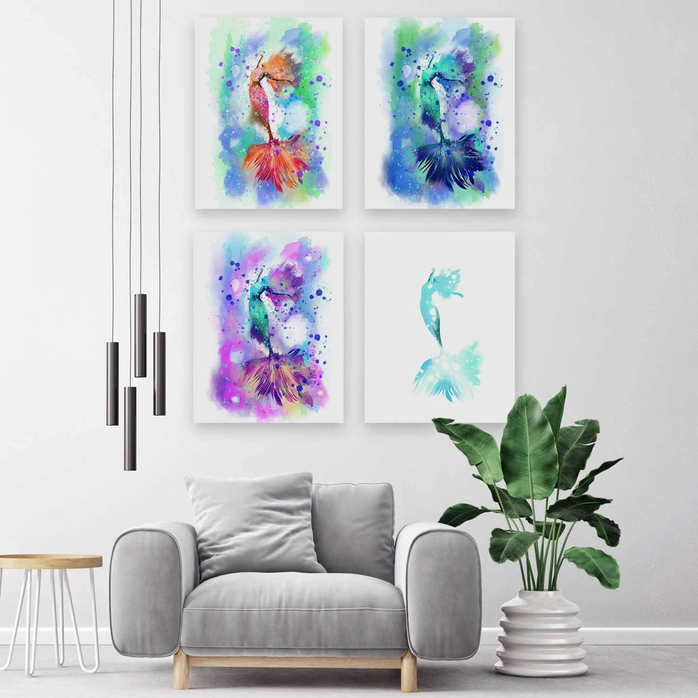 Oversized wall art grid of four prints with colorful posing mermaids against liquid ink backgrounds