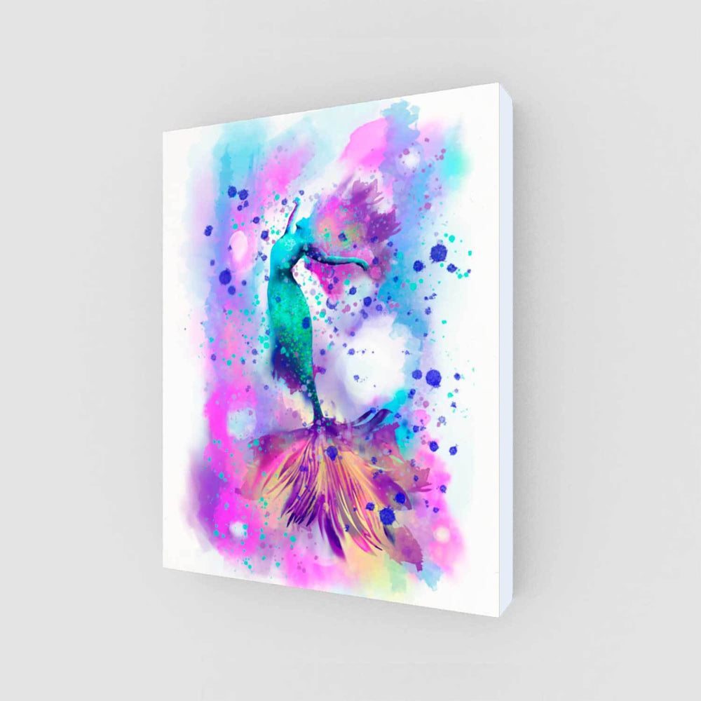 Little Mermaid inspired wall decor with pink and aqua mermaid dancing against a watercolor background. Great for a girl's bedroom.