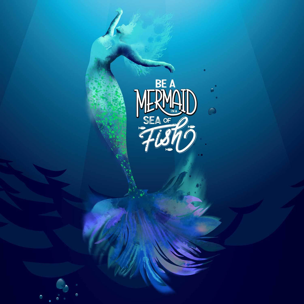 Canvas print of dancing mermaid in blues, greens, and purples that says Be a Mermaid in a Sea of Fish