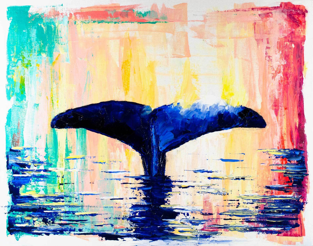 Zen wall art of minimalist whale tail against rainbow abstract background with blue waves