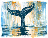 Zen wall art of minimalist blue whale tail against brown and white ombre abstract background