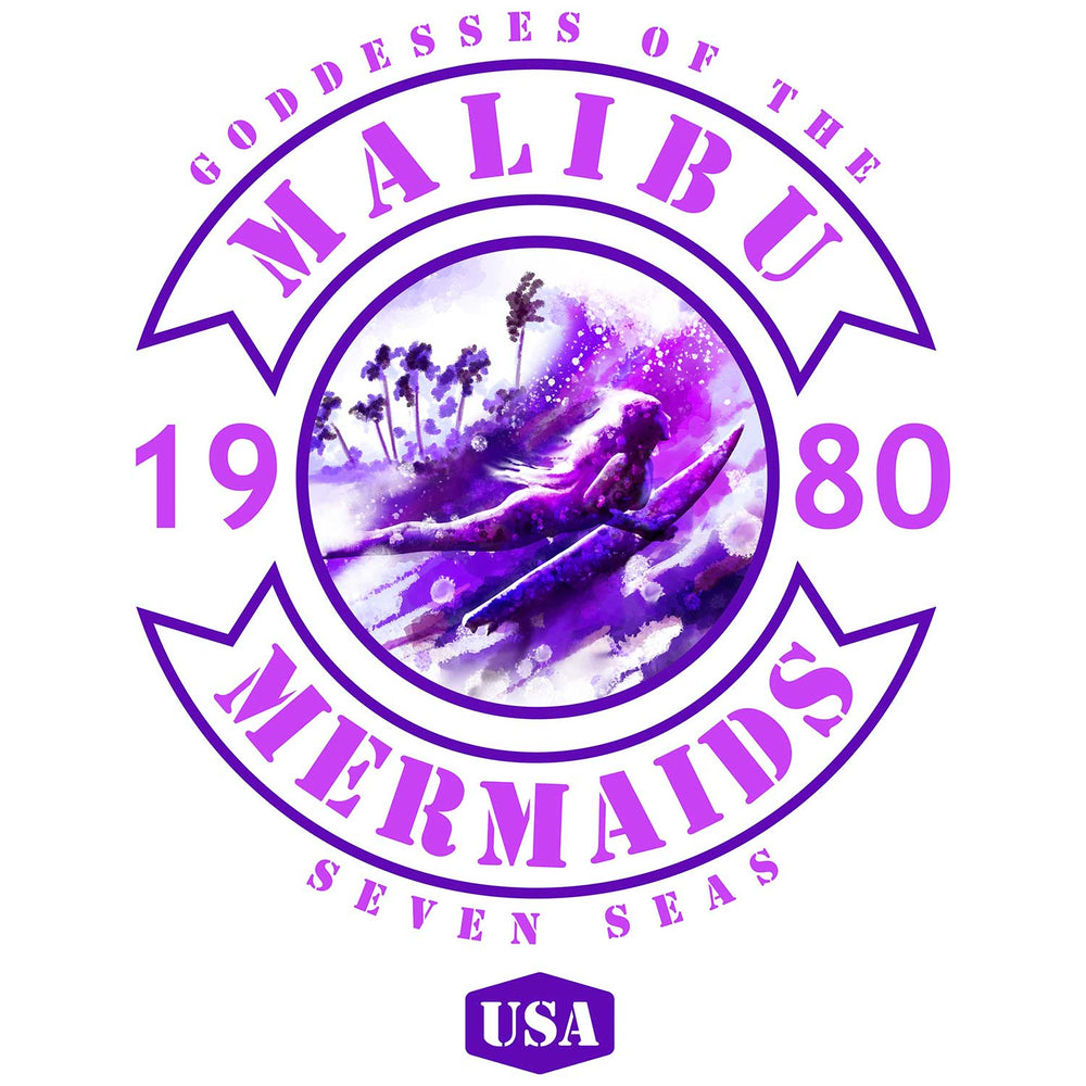 Pink and purple Malibu Mermaids surfing team logo with surfer girl style and surfer girl art in the center.