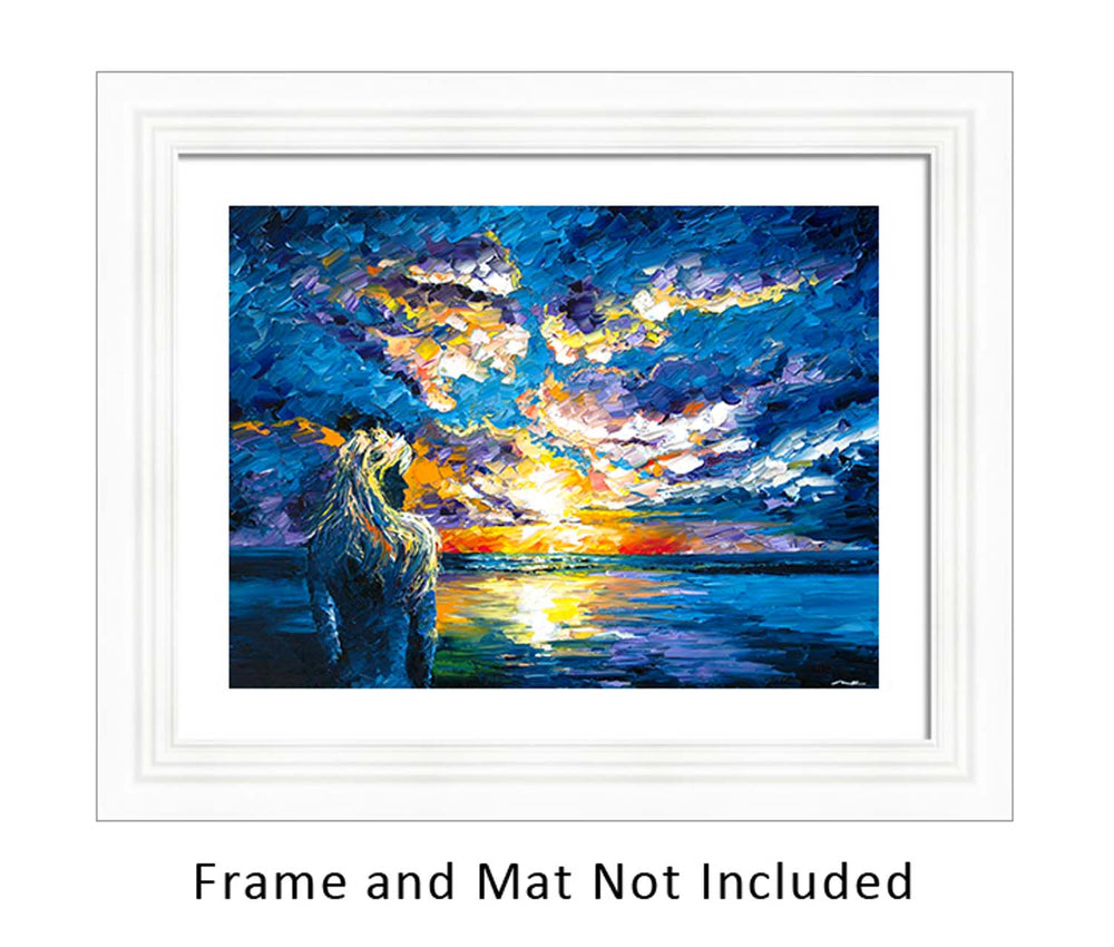 Framed wall art of little mermaid perched on shore, silhouetted against a pastel ocean sunset
