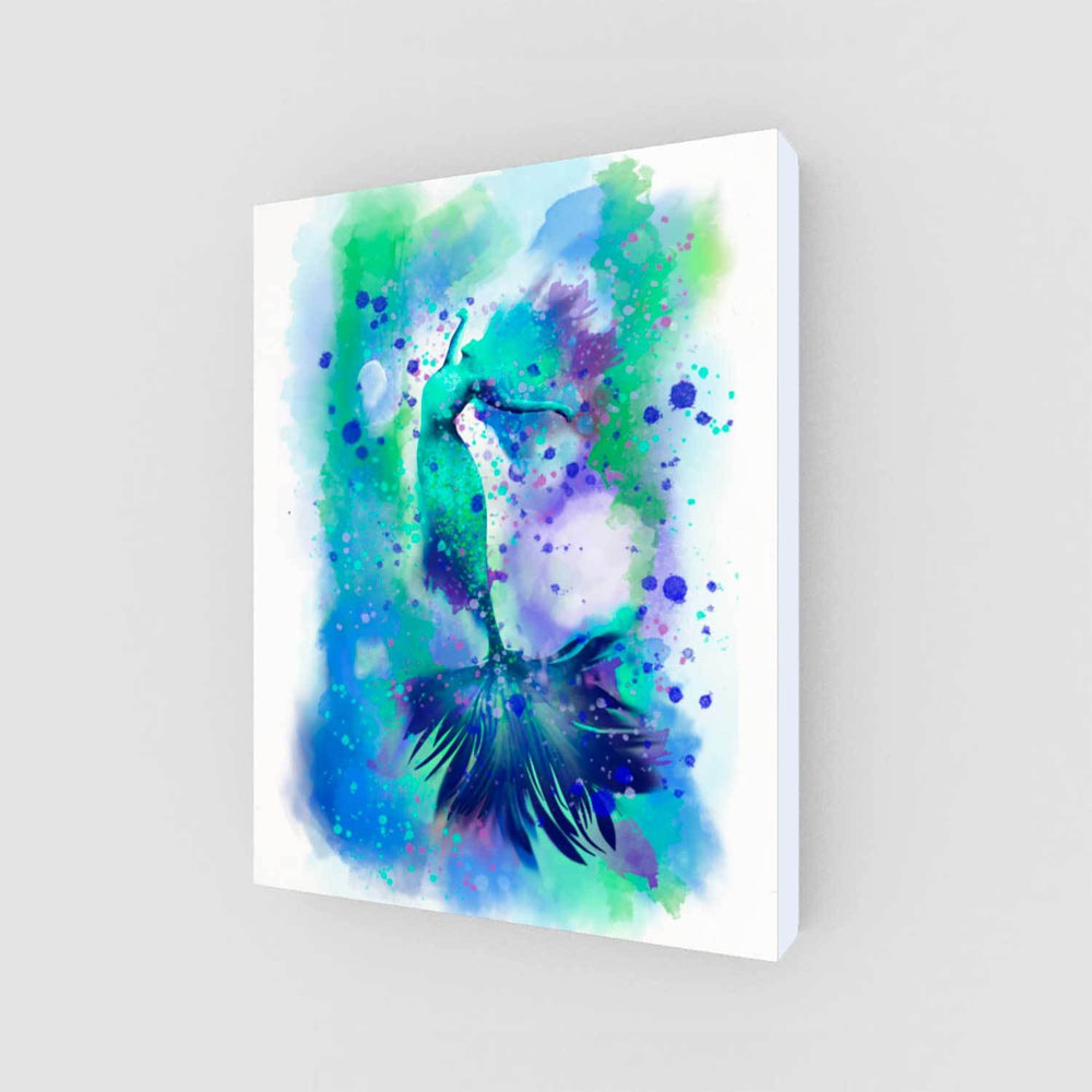 Blue and turquoise mermaid wall art print with navy accents against a white background