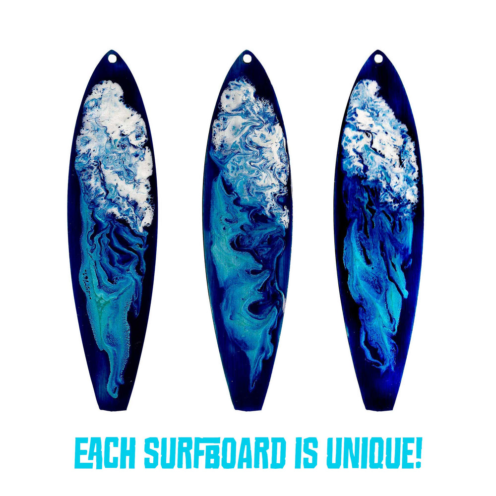 Three big blue wave mini surfboard holiday ornaments for your favorite surfer girl or beach bum. Tropical Christmas tree decor.