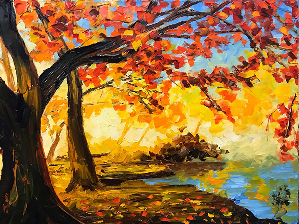 Colorful autumn forest painting on canvas with pink and gold fall foliage by a forest lake. Fall decor for home.
