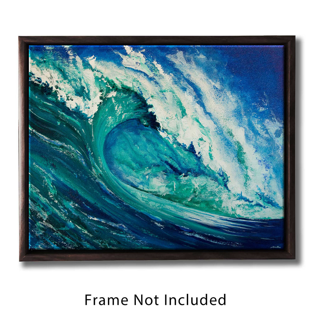 Nature wall art of curling ocean wave in blue and green acrylic paint