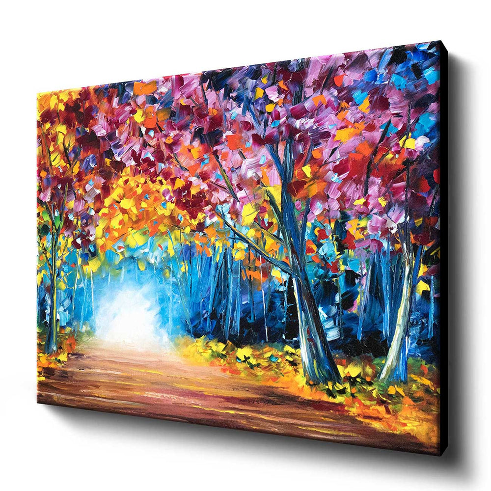 Large wall art canvas of an original oil painting of a glowing path through a vibrant fall forest with rainbow foliage.