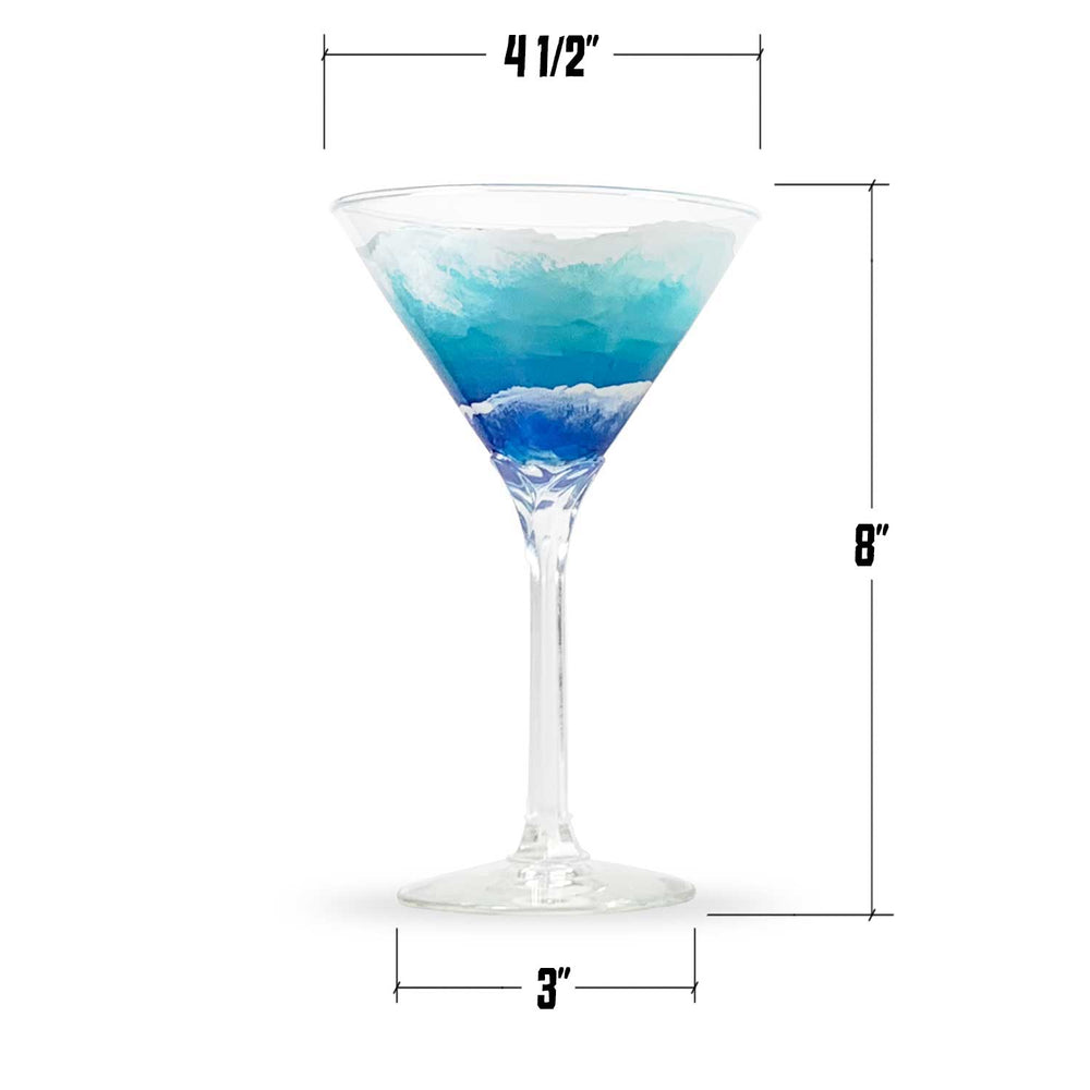 Coastal decor martini glass with custom blue and white waves painted around the bowl. Shown with dimensions in inches.