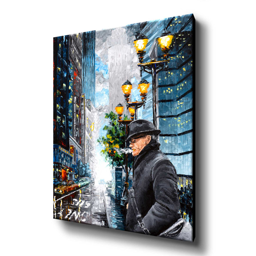 Stretched canvas art print of Manhattan street with smoking man against the NYC skyline