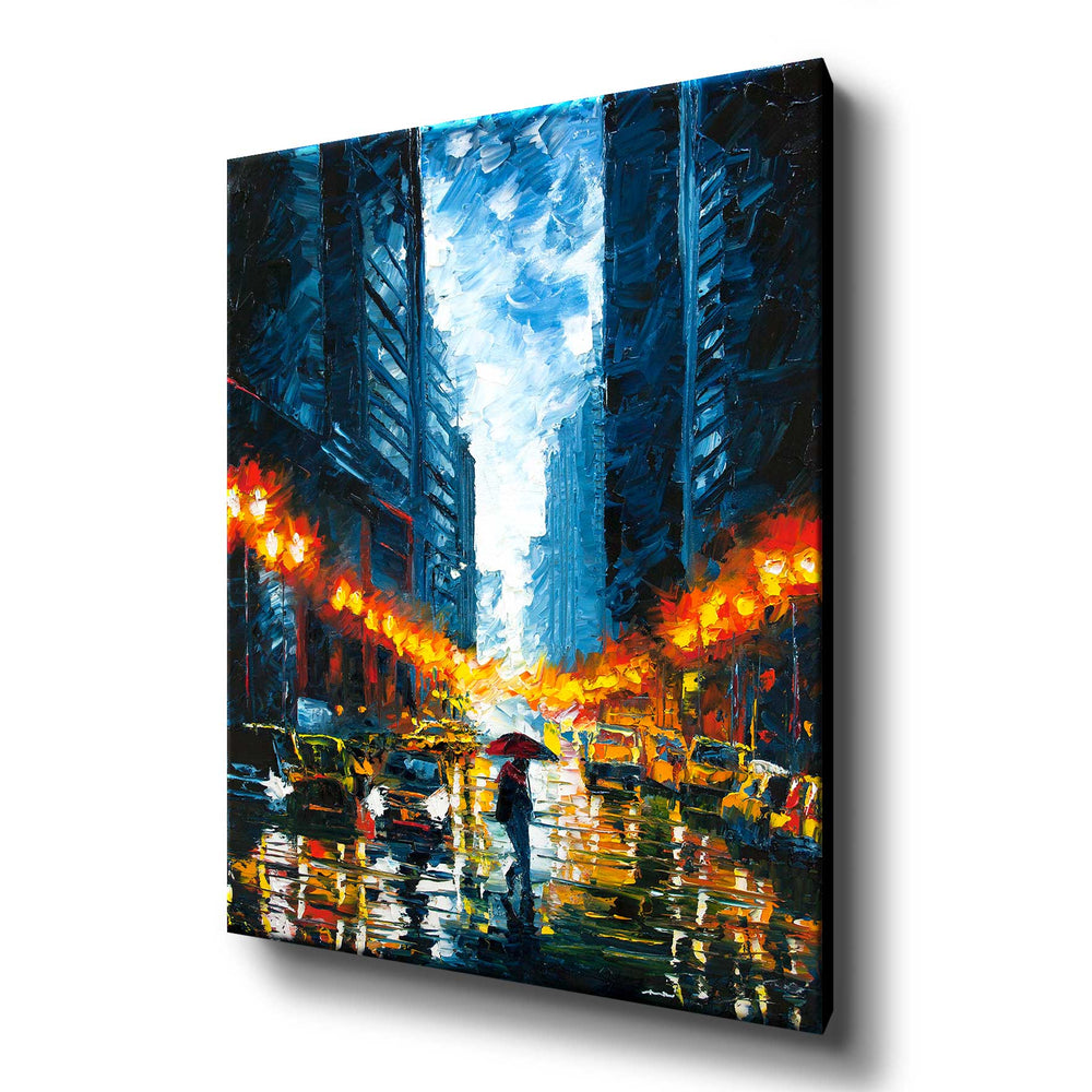 New York canvas print of figure walking with a red umbrella on a rainy night in Manhattan
