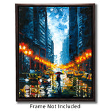 Framed urban art print of NYC cityscape with girl walking in the rain under a red umbrella