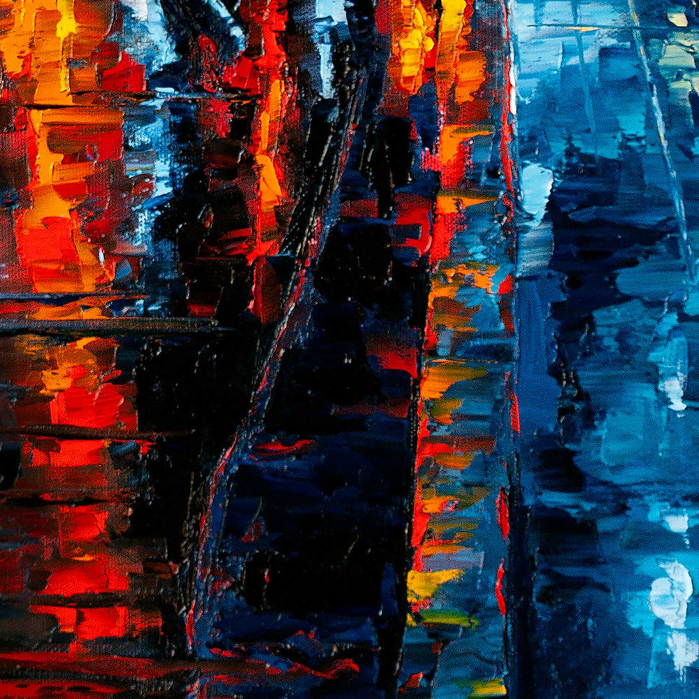 One of a kind cityscape oil painting of urban lights and traffic reflected in a rainy street