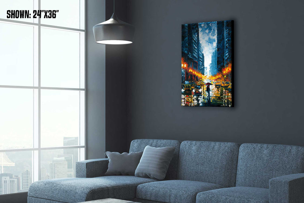 Times Square art of rainy city night with pedestrian in an urban loft overlooking a cityscape