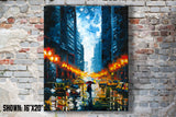 Large printed wall art of rainy New York City street with reflected lights in an urban home office