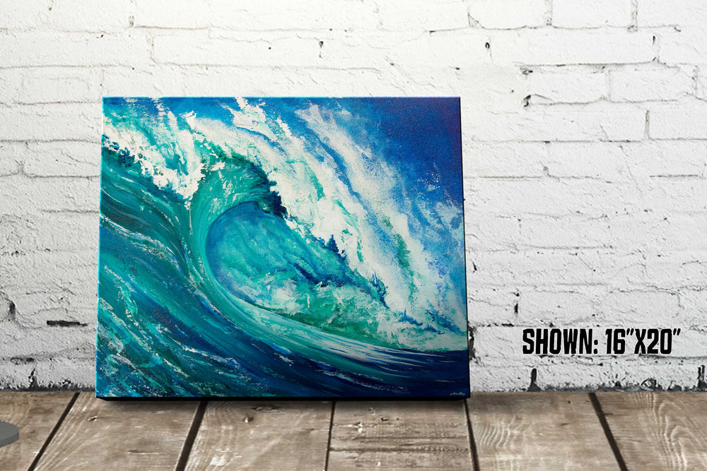 Beach house décor of blue and green ocean wave acrylic painting against a white wall
