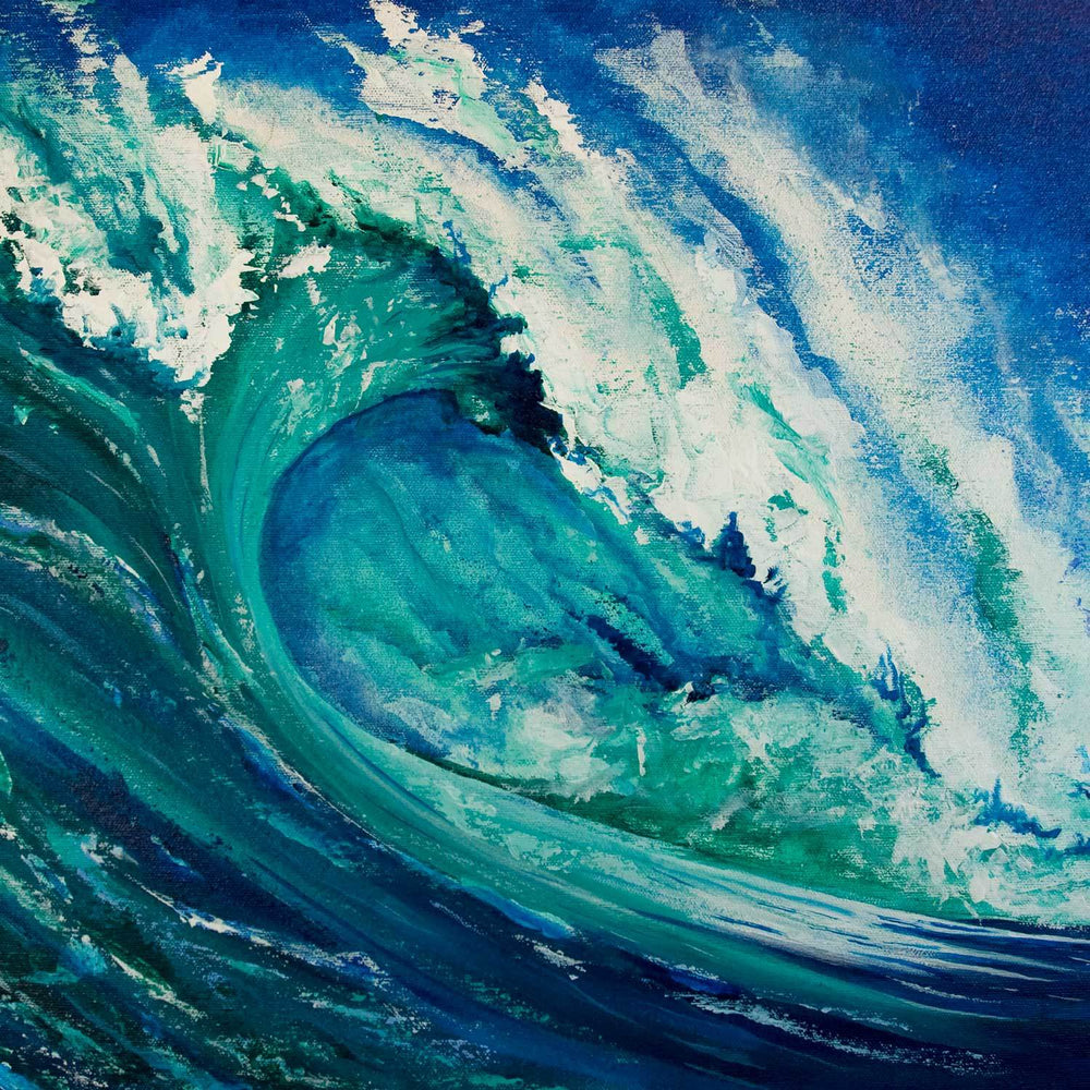 Oil painting on canvas of crashing turquoise wave against deep blue sky with white sea spray