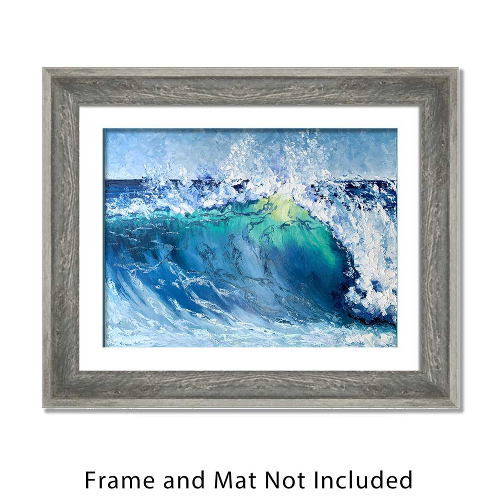 California Coastal Wall Art of Blue Surfing Wave