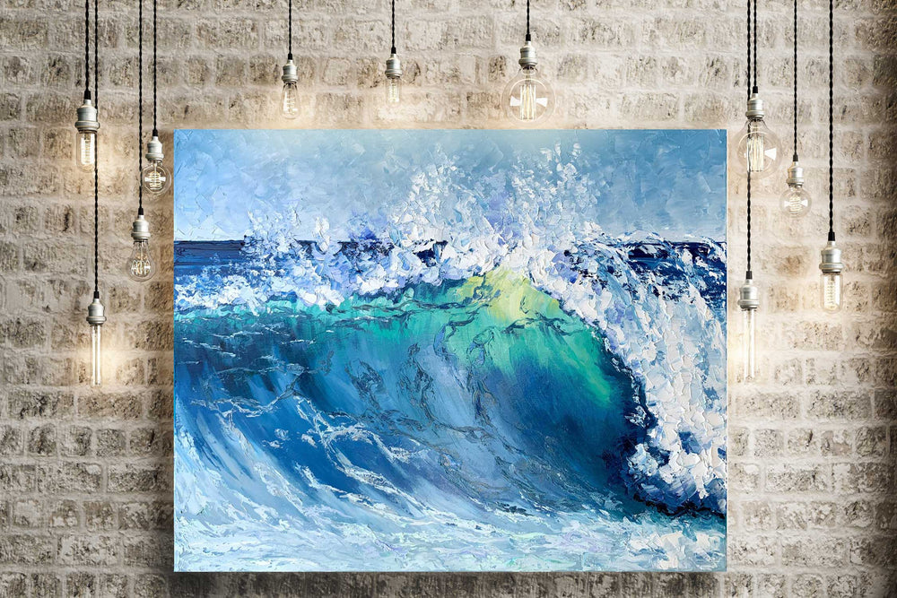 Large Oil on Canvas of Big Blue Wave for Beach House Decor