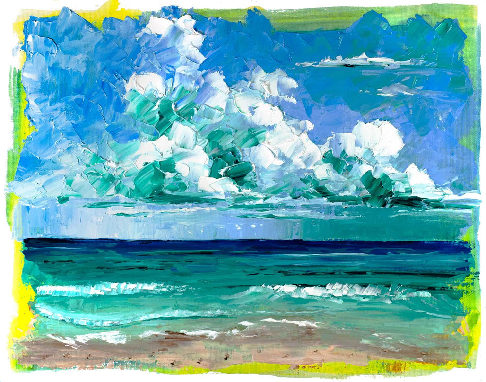 Original beach art of turquoise waves under a blue sky and puffy blue clouds off the Gulf Coast