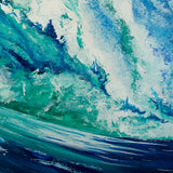 Nautical wall art of blue and turquoise wave with white painted sea foam curling against a summer sky