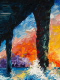 Original Oil on Canvas Painting of Orange Sunset Surf Art under California Pier