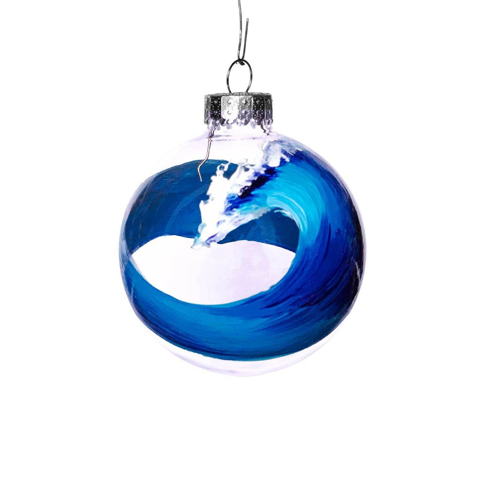 Big blue wave with open curl painted on clear glass ball Christmas ornament for your coastal Christmas tree decorations.