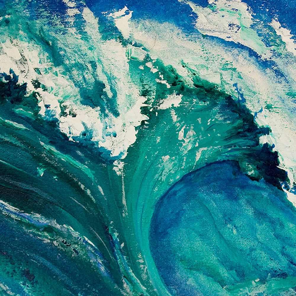 Ocean wave wall art of painted acrylic blue and green wave breaking in the sea
