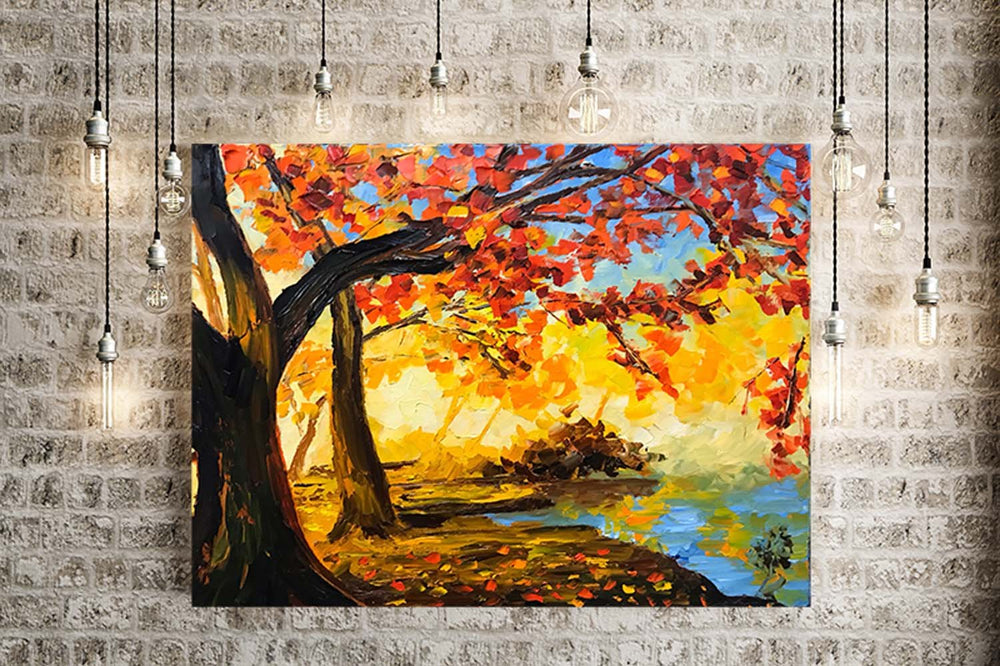 Fall leaves meditation wall art of cozy autumn foliage against a clear blue sky. Great idea for fall decor.