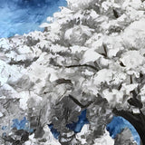 Original oil painting of snow-covered white tree in a winter forest. Perfect blue and white winter decor.