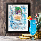 Home tiki bar idea with framed art of Painkiller drink with cocktail recipe in blue, green and orange