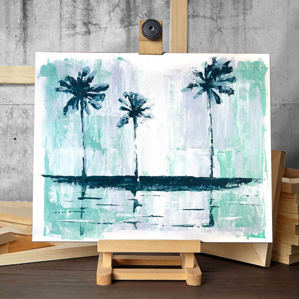 Original painting of tropical palm trees silhouetted against cool green and white abstract sky