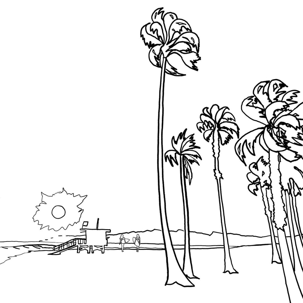 California Beach Sunset - FREE Coloring Page - Nelson Makes Art
