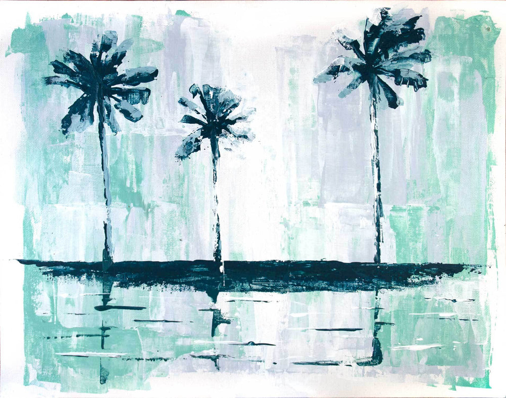 Zen wall art of minimalist palm trees against turquoise abstract background