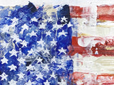 Stars and stripes painting of US flag with red and white stripes and a field of white stars on blue  background