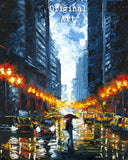 Canvas print of an original oil painting of figure walking with a red umbrella on a rainy night in Manhattan