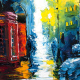 Cityscape oil painting of rainy British street with red phone booth after dark against a navy background