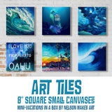 Six printed canvas tiles of various beach décor paintings, including blue waves, surfers, beaches, and mermaids arranged on stylish white wall