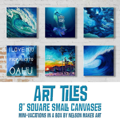 "Art Tiles - 8"" Beach Themed Canvas Prints"