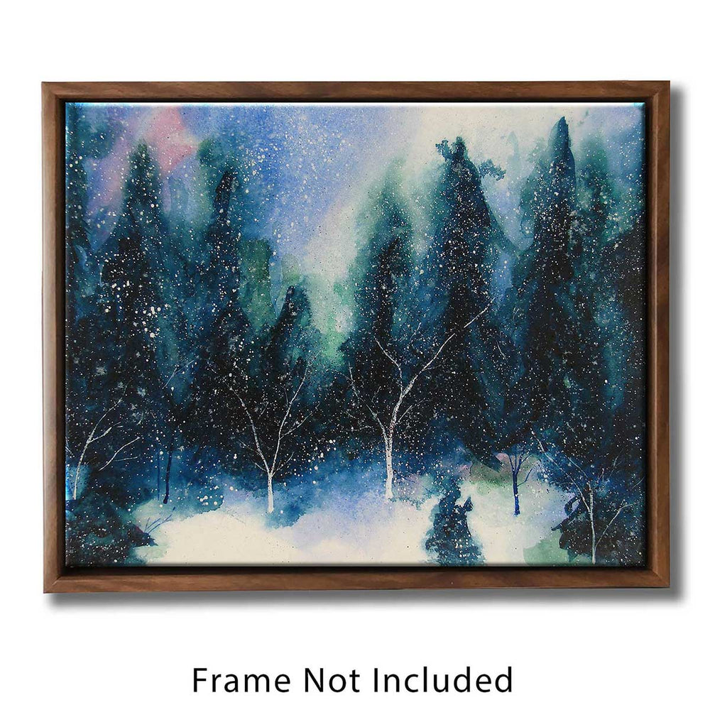 Winter wall art canvas of the winter solstice in a quiet forest clearing covered in snow. Winter room decor.