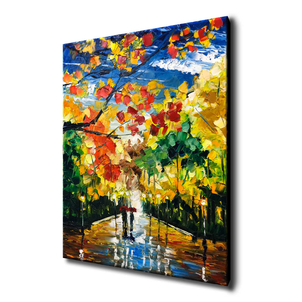 Canvas reproduction of nature oil painting with two people walking in the park in autumn after the rain