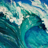 California coast art of turquoise surfing wave breaking against a blue summer sky