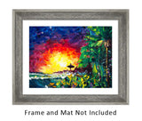 Original Oil Painting with Colorful Sunset on Coast