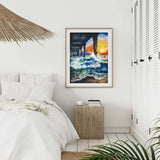 Large Oil on Canvas Painting of Florida Beach with Crashing Blue Waves