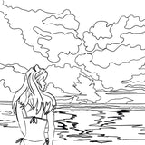 Surfer Girl on the beach at Sunset - Free Coloring Page - Nelson Makes Art