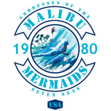 Blue and green Malibu Mermaids surfing team logo with surfer girl art in the center and surfer girl style.